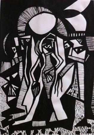 'Tres amigos con sol y césped' pintura