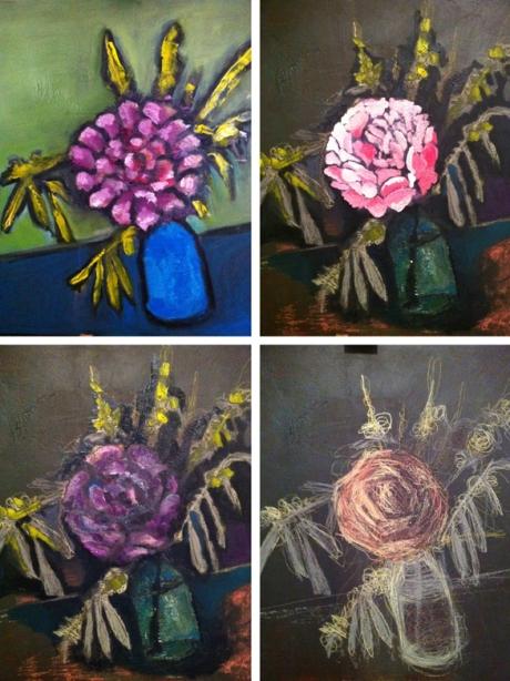 Flores de primavera sesión de pintura